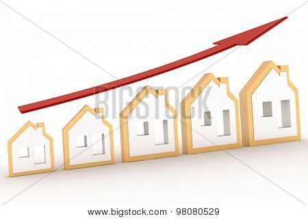 Growth in real estate shown on graph . 3d illustration