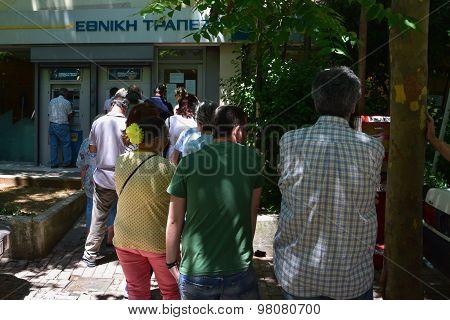 Line Of People Greek Bank