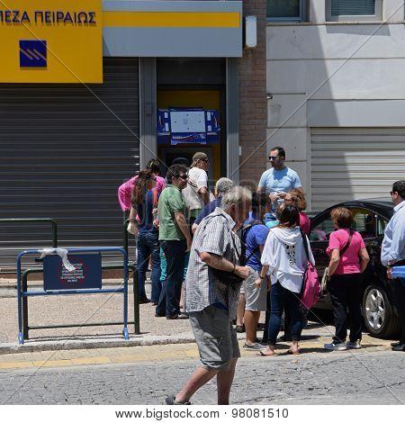 Greek People Closed Bank