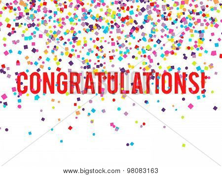 Vector congratulations background with falling confetti on white background poster