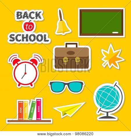 Back To School Icon Set Green Board, Bell, Alarm Clock, World Globe, Glasses, Book Shelf, Origami Pa