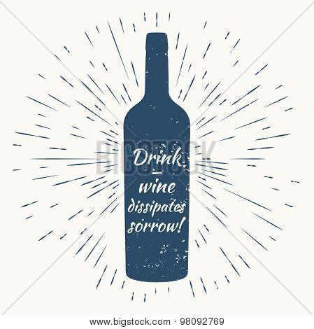 bottle of wine and vintage sun burst frame. Wine poster