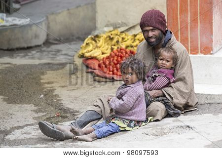 Poor Family Of Beggars On The Streets In India