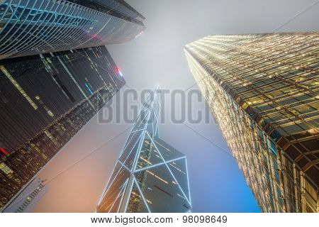 Looking up Hong Kong skyscrapers and office buildings