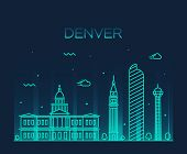 Denver skyline detailed silhouette Trendy vector illustration linear style poster