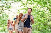 adventure, travel, tourism, hike and people concept - group of smiling friends walking with backpacks in woods poster