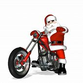 santa looking cool with a bit of an attitude on his shiny new red and chrome chopper. poster