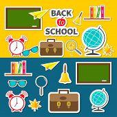 Back to school icon set Green board bell alarm clock world globe glasses book shelf origami paper plane schoolbag briefcase maple leaf. Flat design Vector illustration poster