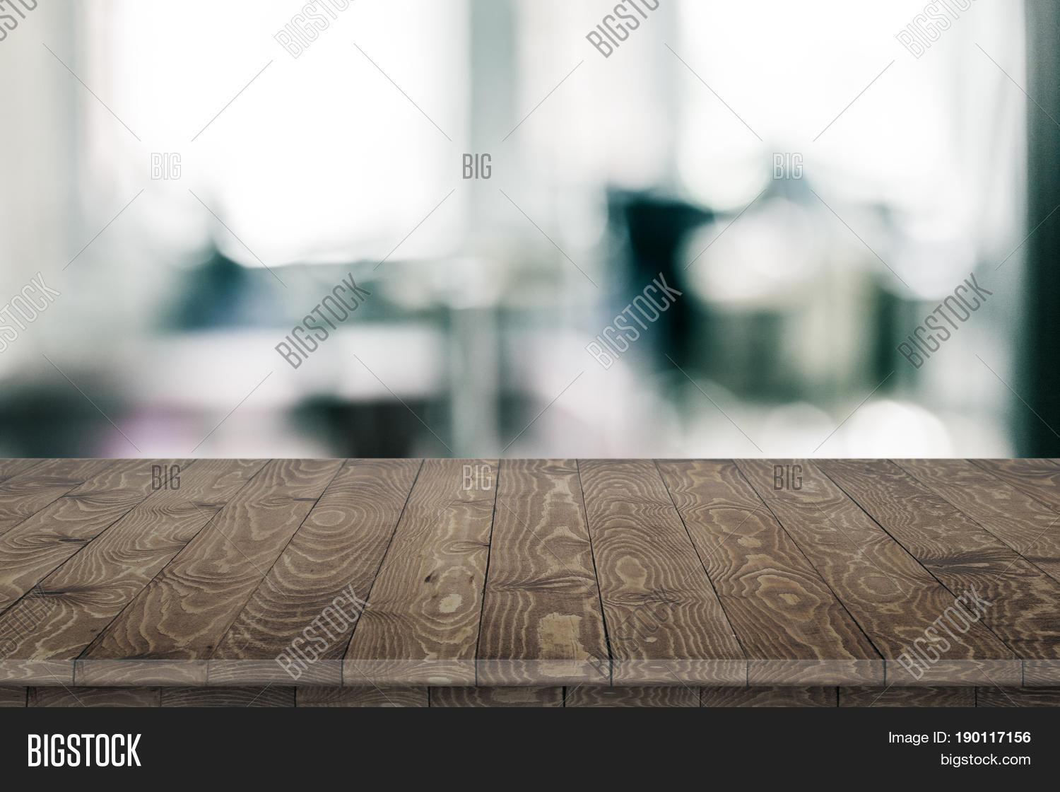 Large Office Wood Table Blurred Image Photo Bigstock