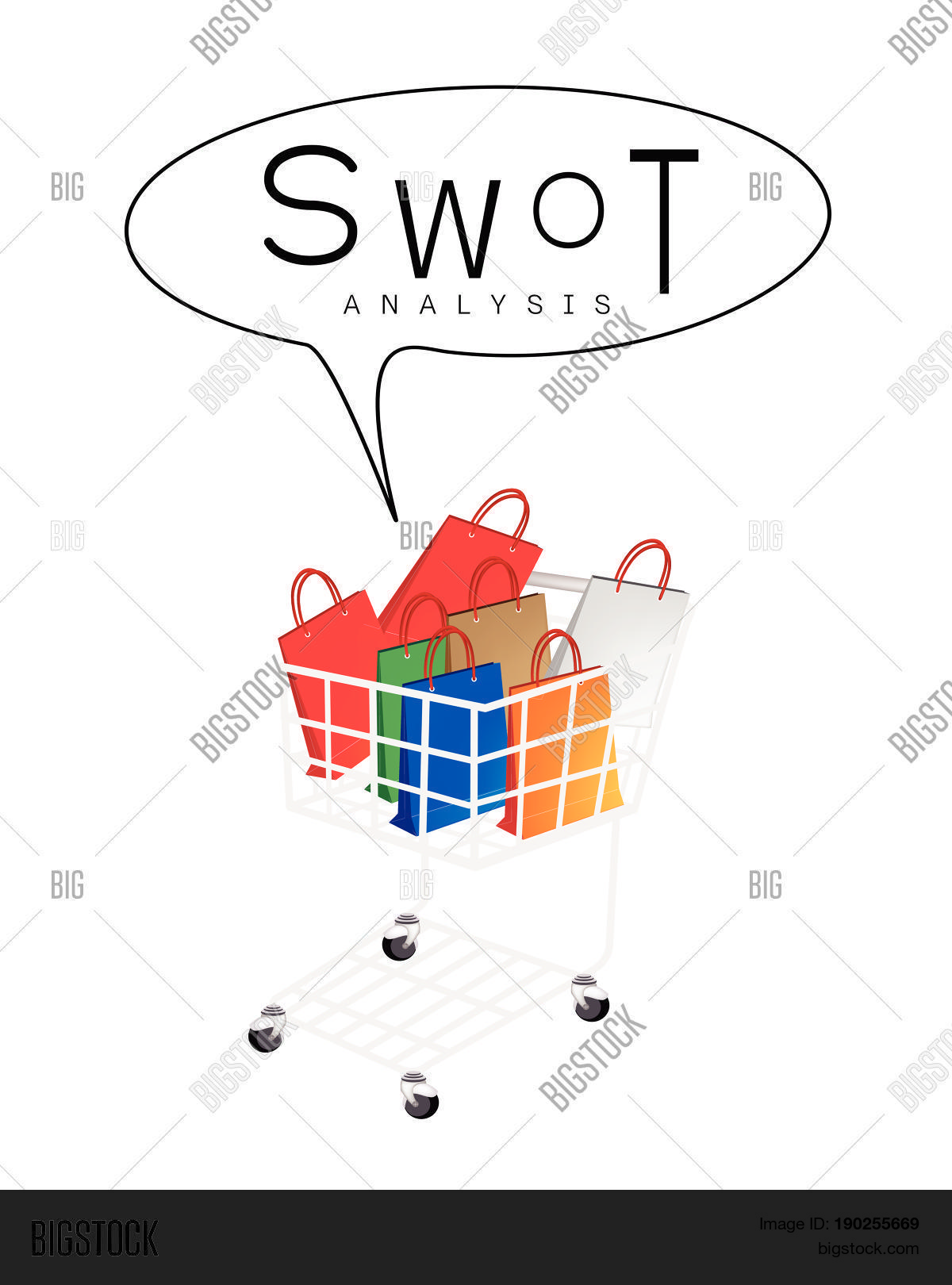 Shopping Cart Full Vector Photo Free Trial Bigstock Diagram With Bag Or Gift Swot Analysis Matrix A Structured Planning