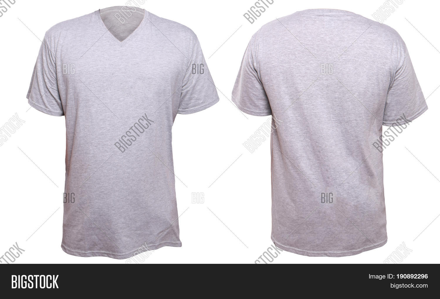 Misty Grey T Shirt Mock Up Front And Back View Isolated Plain Gray