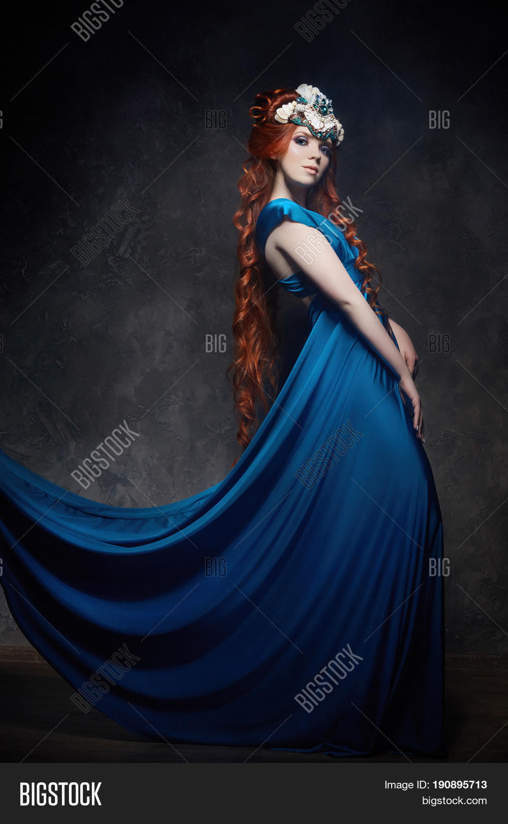 67a7745f897 Redhead girl fabulous look blue long dress bright makeup and big eyelashes. Mysterious  fairy woman