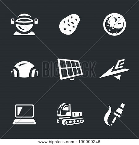 Cosmonaut, potato, planet, camp, solar panel, space ship, laptop, vehicle, soldering iron.