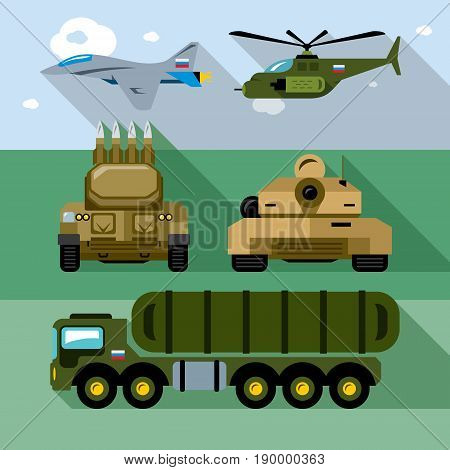 Aircraft, air defense, ground forces. Isolated on a color background