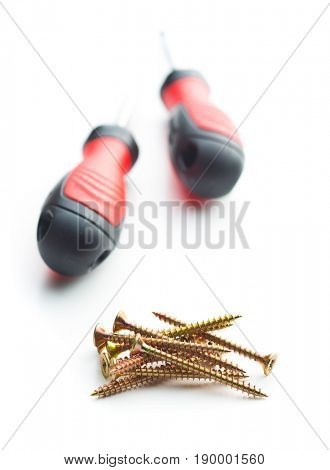 Stainless steel screws  isolated on white background.