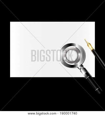 dark background, small sheet of white paper and retro magnifying glass with golden writing pen