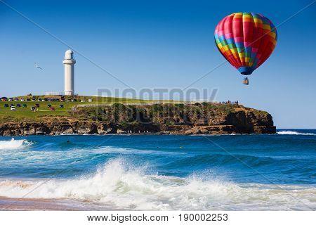 Hot Air Balloon Over The Beach At Wollongong, New South Wales, Australia
