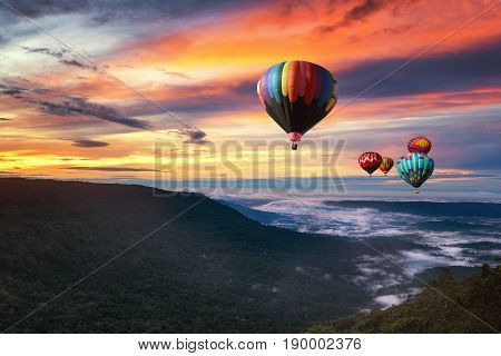 Hot Air Balloon Over Khao Yai National Park In Morning With Beautiful Sky, Thailand