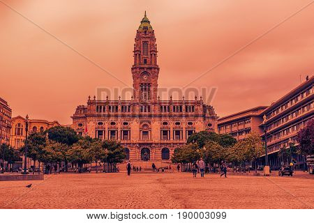 Porto, Portugal: the City Hall at sunset