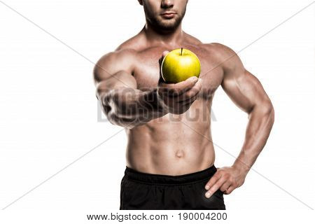 Cropped View Of Shirtless Muscular Sportsman Presenting Apple Isolated On White, Healthy Eating Conc