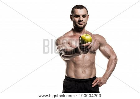 Shirtless Muscular Sportsman Presenting Apple Isolated On White, Healthy Eating Concept
