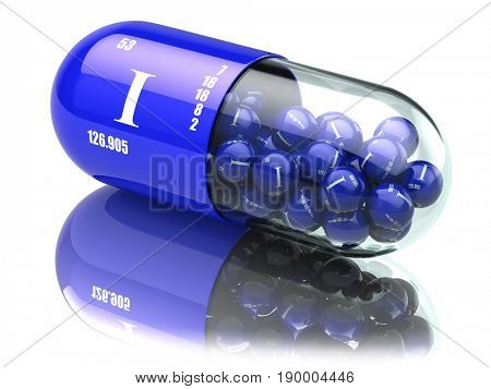 Iodine I element pills. Dietary supplements. Vitamin capsules. 3d illustration