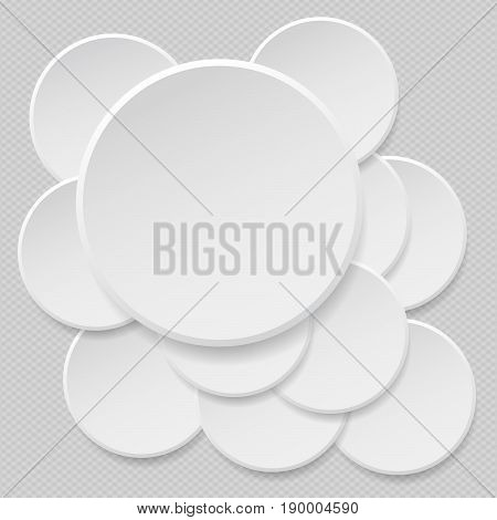 Round offer paper sticker or badges, white banners set. Circle buttons. Vector label tag on gray squared background
