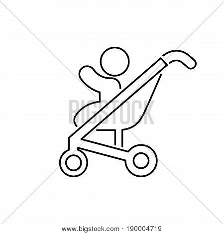 Baby Pram Icon Simple Flat Style Vector Illustration