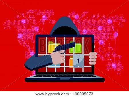 Anonymous hacker with hood pointing gun at locked laptop with folders behind jail bars as ransomware hostage on red binary code map background
