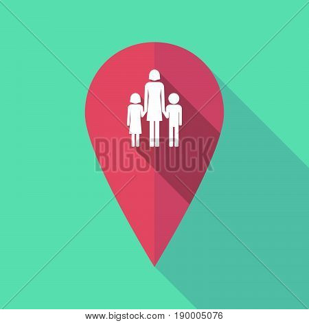 Long Shadow Map Mark With A Female Single Parent Family Pictogram