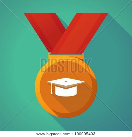 Long Shadow Medal With A Graduation Cap
