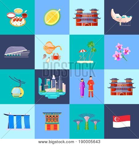 Singapore culture colored flat icon set with main attractions in little circles vector illustration