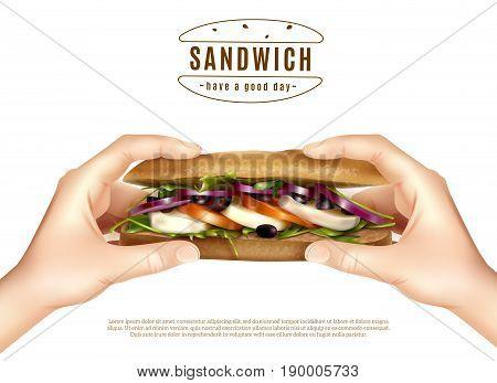 Healthy multi grain sandwich with mozzarella lettuce tomato onion in hands realistic advertisement white background poster vector illustration