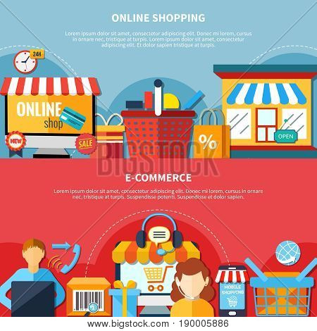 Two horizontal ecommerce flyer or banner set with online shopping and ecommerce headlines vector illustration