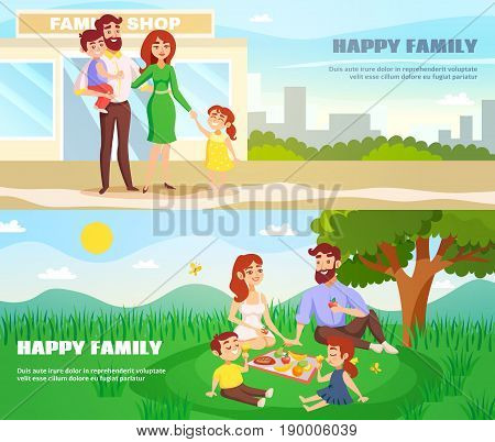 Happy family outdoor horizontal banners in cartoon style with parents and children in city and at picnic flat vector illustration