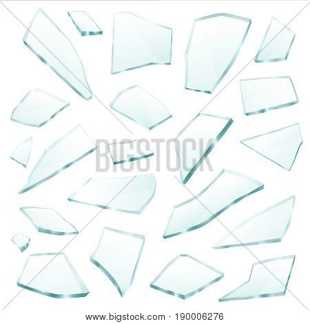 Broken plane transparent glass fragments shivers pieces shards various form and size collection realistic vector illustration