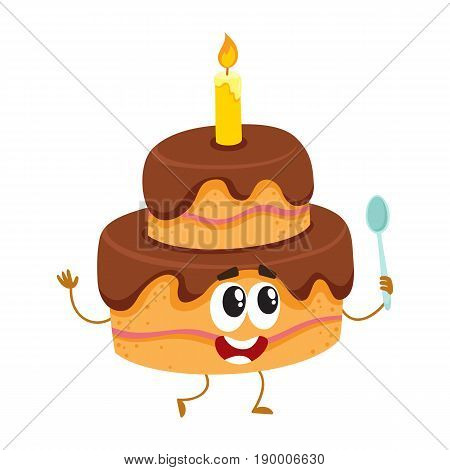 Cute layered birthday party cake character with smiling human face and one candle, cartoon vector illustration isolated on white background. Funny birthday party chocolate cake character, mascot
