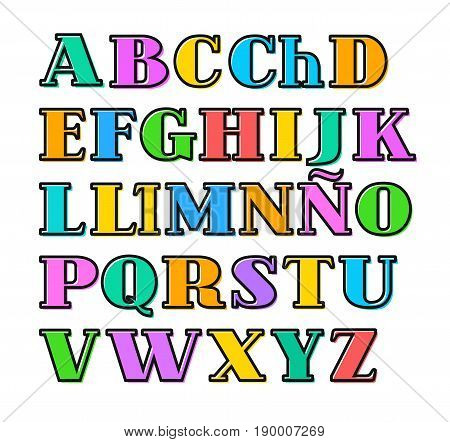 Spanish alphabet colorful letters, black outline, vector. Capital letters with serif on a white background. Black outline is offset to the side.