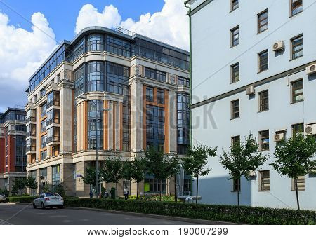 MOSCOW/ RUSSIA - JULY 16, 2015. View of the residential building of the new luxury residential complex Four suns in the center of Moscow, Russia.