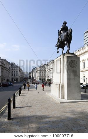 London United Kingdom 6 may 2017: statue of edward VII on waterloo square in london