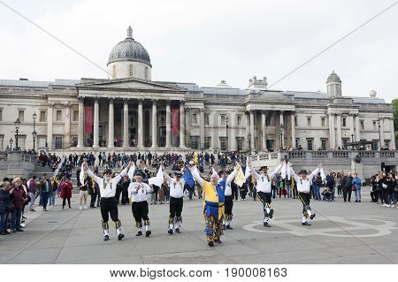 London United Kingdom 6 may 2017: folk dance performance on trafalgar square in front of national gallery