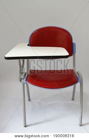 Red Student Chair White Scene.