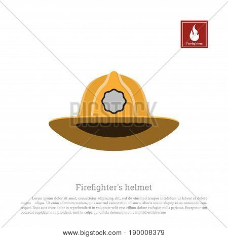 Helmet of a firefighter on a white background. Icon fireman's hats in flat style. Vector illustration