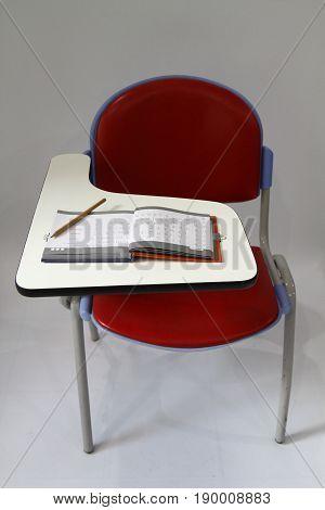 Red Student chair For Thai lerning white scene.