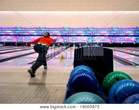 Bowling playing poster