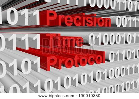 Precision Time Protocol in the form of binary code, 3D illustration