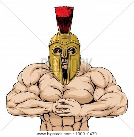 Trojan, spartan or Roman gladiator mascot character or sports mascot ready for a fight