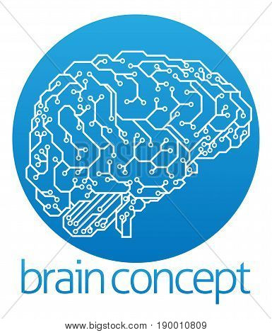 An abstract illustration of an electronic circuit board brain in profile, ai artificial intelligence circle concept design