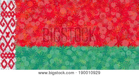 Flag of the Republic of Belarus with flowers