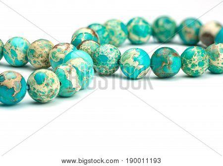 Variscite Round Bead Stretchy Bangle Bracelets on white background